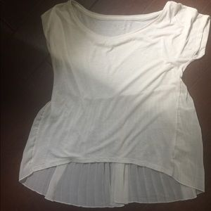 American Eagle Cream Tee with Pleated Chiffon